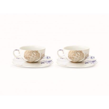 Set/2 Tea Cups & Saucers Royal White