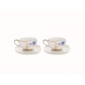 Set/2 Espresso Cups & Saucers Royal White