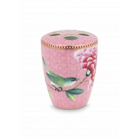 Porcelánový stojánek na kartáčky Good morning, růžový