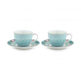 Set 2 espresso hrnečků Blushing birds, modré, 120 ml