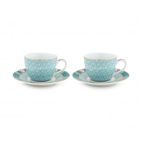 Set 2 espresso hrnečků Blushing birds, bílé, 120 ml