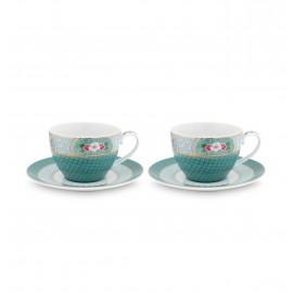Set 2 Cappuccino hrnků Blushing birds, modré, 280 ml POSLEDNÍ KUS