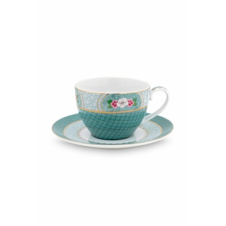 Cappuccino hrnek s podšálkem Blushing birds, modrý, 280 ml