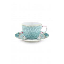 Espresso šálek s podšálkem Blushing birds, modrý, 120 ml