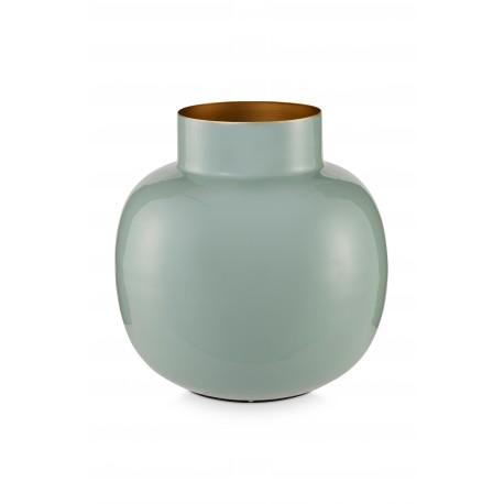 Kovová váza kulatá, modrá, 25 cm