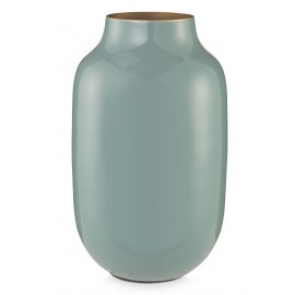 Kovová váza oválná, žlutá, 30 cm