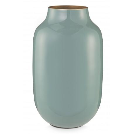 Kovová váza oválná, modrá, 30 cm