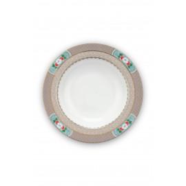 Polévkový talíř Blushing birds khaki 21,5 cm