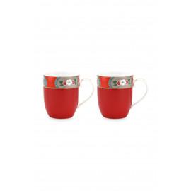 Set 2 hrnečků Blushing červené, malé