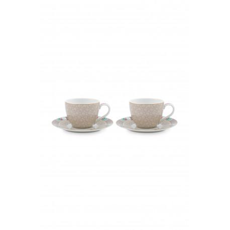 Set 2 espresso hrnečků Blushing birds, khaki, malé