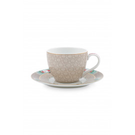 Espresso šálek s podšálkem Blushing birds,khaki