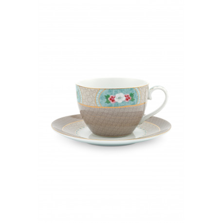 Cappuccino hrnek s podšálkem Blushing birds, khaki