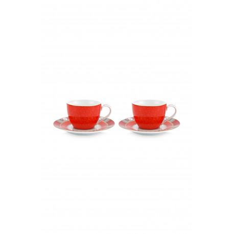 Set 2 espresso hrnečků Blushing birds, červený, malé