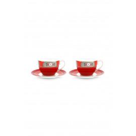 Set 2 Cappuccino hrnků Blushing birds, červené