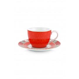 Espresso šálek s podšálkem Blushing birds, červený
