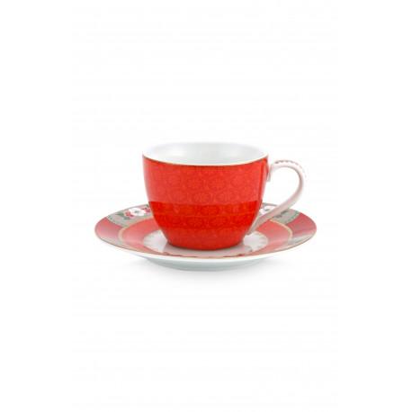 Pip studio espresso šálek s podšálkem Blushing birds 120 ml, červený