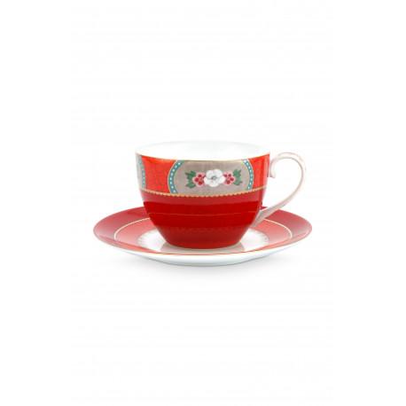 Cappuccino hrnek s podšálkem Blushing birds, červený