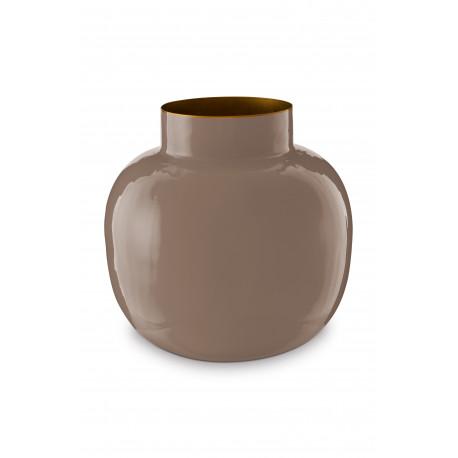 Pip studio kulatá kovová váza Blushing birds 25 cm, khaki