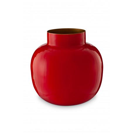 Kulatá kovová váza BB červená, 25 cm