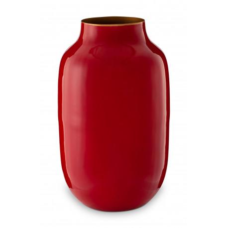 Kulatá kovová váza BB červená, 30 cm