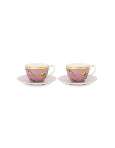 Pip studio Set 2 Cappuccino hrnečků s podtáckem La Majorelle 280 ml růžové