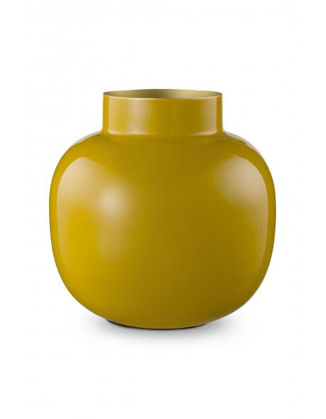 Pip studio kulatá kovová váza Blushing birds 25 cm, žlutá