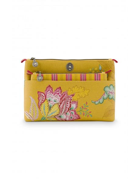 Pip studio Duo kosmetická taška Combi Jambo Flower, žlutá