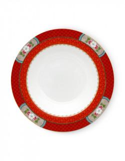 Polévkový talíř Blushing birds červený 21,5 cm