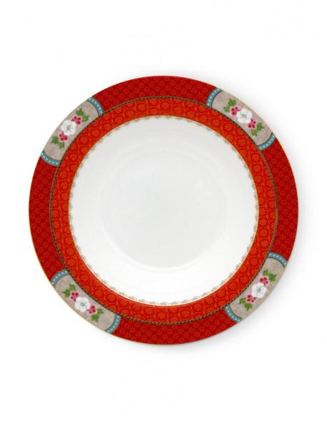 Pip studio polévkový talíř Blushing birds 21,5 cm červený