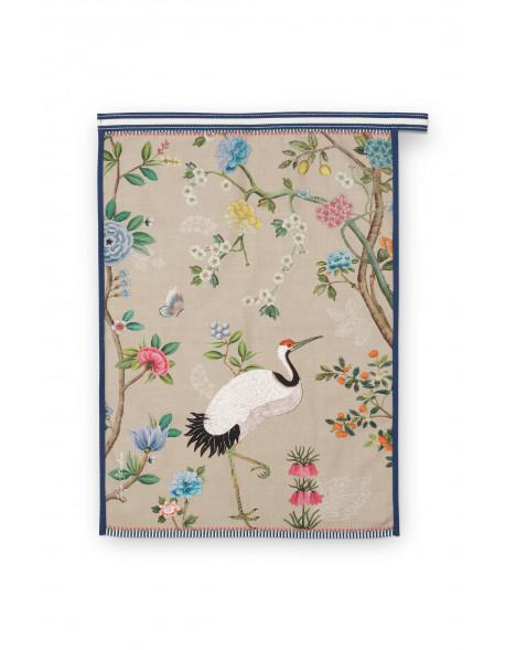 Čajová utěrka Blushing birds celopotisk khaki