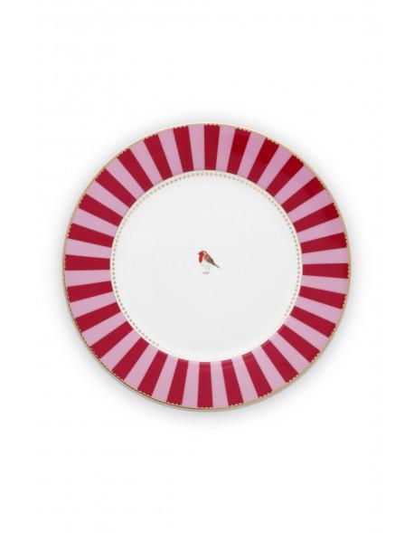Pip studio talíř Love birds, červený s proužky, 26,5 cm