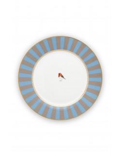 Pip studio talíř Love birds, modrý-khaki s proužky, 26,5 cm