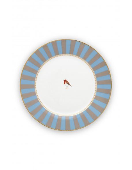 Pip studio talíř Love birds, modrý-khaki s proužky, 21 cm
