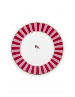 Pip studio talíř Love birds, červený s proužky, 21 cm