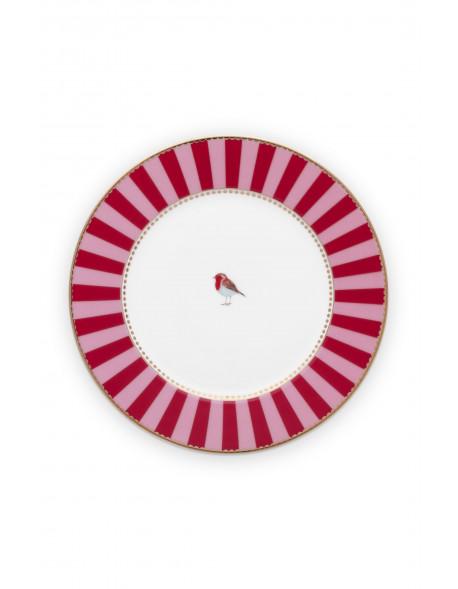 Pip studio talíř Love birds, červený s proužky, 17 cm