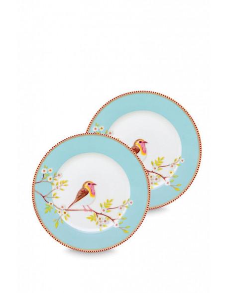 Pip studio Set 2 talířů Early birds, modrý