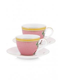 Pip studio Set 2 Espresso šálků s podšálky La Majorelle, růžové 120 ml