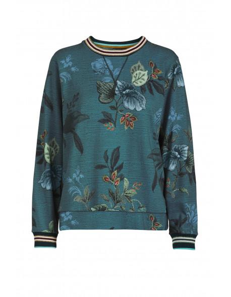 Pip studio Mikina Leafy stitch modrá
