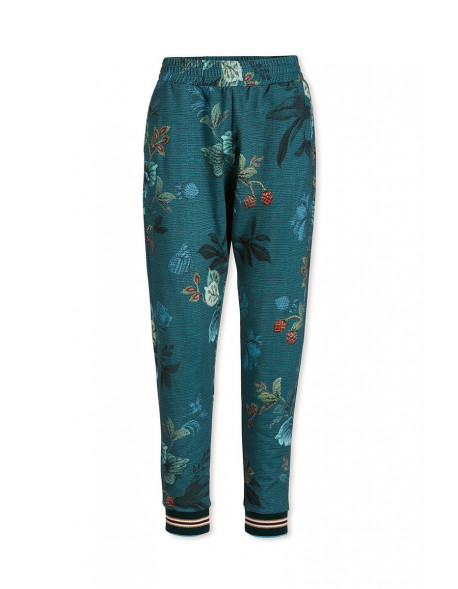 Pip studio Kalhoty dlouhé Leafy stitch modré, S